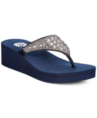 Yellow Box Birder Rhinestone Platform Wedge Sandals Women's Shoes Navy