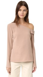 Tibi Asymmetrical Off The Shoulder Top Abalone Grey