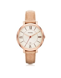 Fossil Jacqueline Sand Leather Women's Watch Pink