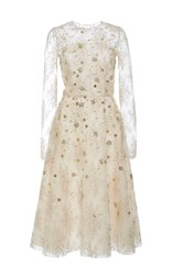Oscar De La Renta Long Sleeve Cocktail Dress Ivory