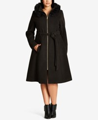 City Chic Trendy Plus Size Faux Fur Trim Walker Coat Black