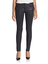 Joe's Jeans Coated Mid Rise Skinny Jeans Jet Sparkle