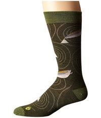 Smartwool Charley Harper Rocky Mountain Fish Crew Loden Heather Men's Crew Cut Socks Shoes Green