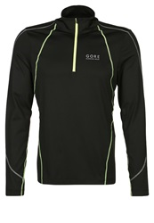 Gore Running Wear Essential Long Sleeved Top Black Neon Yellow