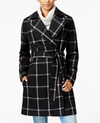 Tommy Hilfiger Windowpane Belted Walker Coat Snow White
