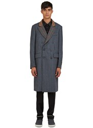 Emiliano Rinaldi Shetland Tweed Double Breasted Coat Navy