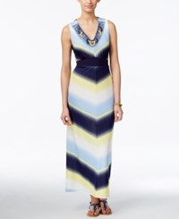 Ny Collection Petite Embellished Printed Maxi Dress Ice Rank