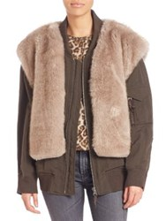 Helmut Lang Two In One Faux Fur Vest And Bomber Jacket Olive