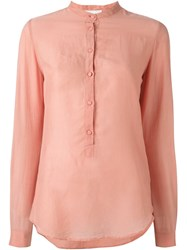 Forte Forte Mandarin Neck Button Down Shirt Pink And Purple