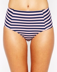Jack Wills Stripe Highwaisted Bikini Bottom Pinkandnavystripe
