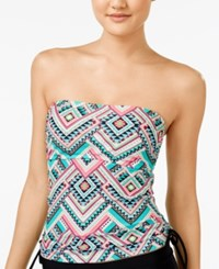 Hula Honey Dance With Me Tribal Print Strapless Tankini Top Women's Swimsuit Black Multi