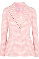 Altuzarra Fenice Gingham Seersucker Stretch Cotton Blazer Pink