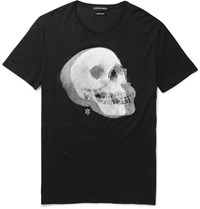 Alexander Mcqueen Slim Fit Skull Print Cotton Jersey T Shirt Black