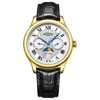 Rotary Gs05066 01 Men's Moonphase Date Day Leather Strap Watch Black Silver