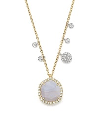 Meira T 14K Yellow Gold Blue Lace Chalcedony Necklace 16