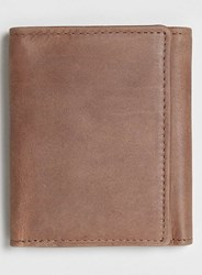 Topman Tan Leather Trifold Wallet Brown
