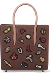 Christian Louboutin Paloma Small Embellished Textured Leather Tote Brown