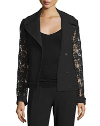 Elie Tahari Dena Lace And Crepe Combo Pea Coat Black