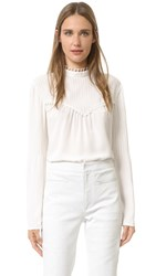 Derek Lam Long Sleeve Blouse With Pintucks Silk White