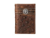 Ariat Cross Concho Ostrich Tri Fold Wallet Brown Wallet Handbags