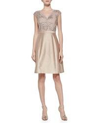 Kay Unger New York Cap Sleeve Beaded Bodice Cocktail Dress Petal