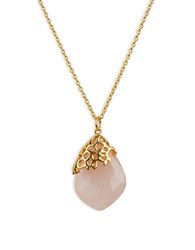 Lord And Taylor Rose Quartz Sterling Silver Pendant Necklace Gold