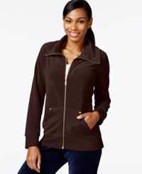 Style And Co. Sport Velour Zip Front Track Jacket Only At Macy's Espresso Bean