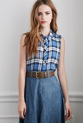 Forever 21 Tartan Plaid Popover Shirt Blue White