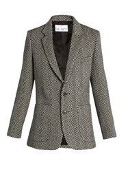Raey Long Line Herringbone Wool Blazer Black White