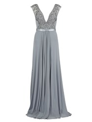 Gina Bacconi Long Mesh Dress With Beaded Applique Grey