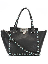 Valentino Tiny 'Rockstud Rolling' Trapeze Tote Black