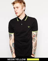 Fred Perry Soho Neon Polo With Neon Yellow Tipping Slim Fit Black