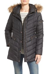 Andrew Marc New York Women's Quilted Down Jacket With Faux Fur Trim