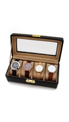 Gift Boutique Genuine Leather 4 Watch Case Black