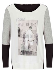 Oui Contrast Sleeve Printed T Shirt Grey Black