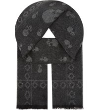 The Kooples Skulls Wool Cashmere Scarf Black Grey