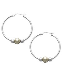 Giani Bernini Sterling Silver And 24K Gold Over Sterling Silver Earrings Beaded Hoop Earrings