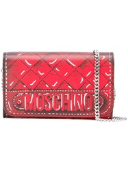 Moschino Trompe L'oeil Quilted Chain Wallet Red