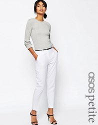 Asos Petite Linen Cigarette Trousers With Belt White