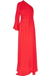 Rosetta Getty One Sleeve Silk Chiffon Wrap Gown Red