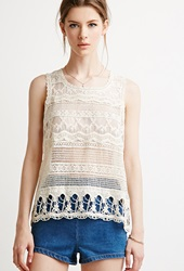 Forever 21 Lacy Crochet Paneled Top Cream