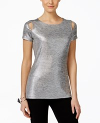 Inc International Concepts Metallic Cutout T Shirt Only At Macy's Silver