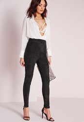 Missguided Faux Suede High Waisted Skinny Trousers Black