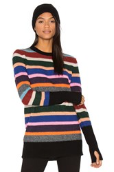 White Warren Stripe Crew Neck Sweater Black