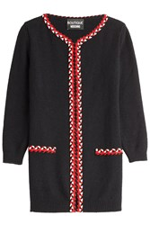Boutique Moschino Cardigan Coat With Braided Trim Black