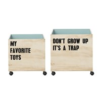 Bloomingville Set Of 2 Storage Boxes With Wheels