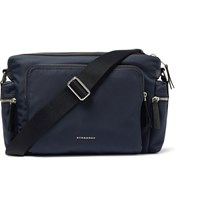 Burberry London Leather Trimmed Canvas Messenger Bag Blue