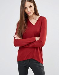 Sisley Slouch Long Sleeve T Shirt 1G2 Red