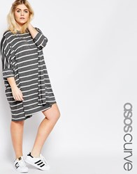 Asos Curve Oversized Stripe T Shirt Dress Grey