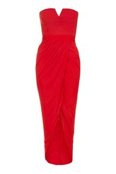 Rare Wrap Bustier Midi Dress By Red